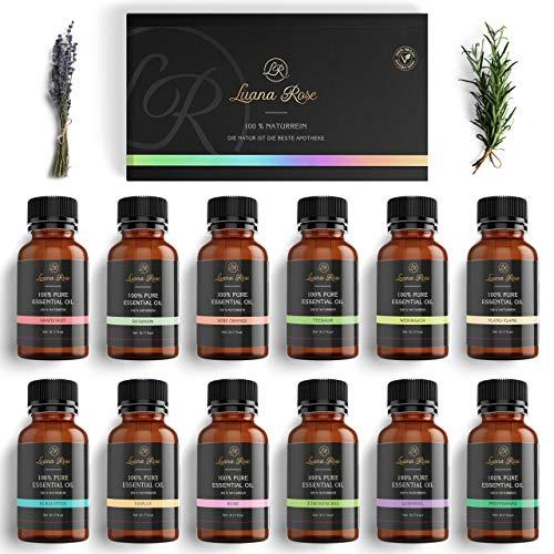 Luana Rose - Ätherische Öle Set - 100% Vegan & Naturrein - 12x Aroma Diffuser Öl für Aromatherapie - Reine Duftöle Geschenk Set für Luftbefeuchter - Vanille - Rose - Lavendel - Eukalyptus und mehr