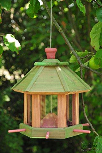 ÖLBAUM Vogelhaus & Futterstation,wetterfest (GRÜN) Pure Green,Gras große Futterfläche + Dach,Futterhaus Vögel,