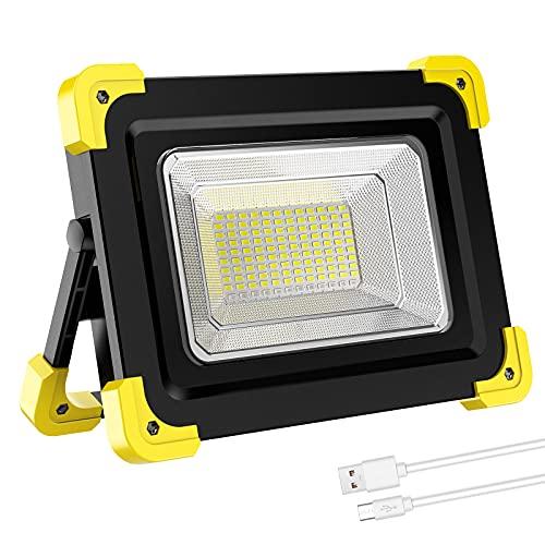 ERAY Projecteur LED Rechargeable, 120LEDs Lumière de Travail Lanterne Portable avec Panneau Solaire/4 Modes d'éclairage/Batterie Externe 14000mAh pour pour Camping, Travaux, Bricolage