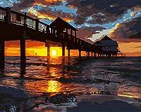 油絵 数字キットによる絵画 絵 デジタル油絵 ギリビングと寝室 40x50センチ フレームレスサンセット木製橋