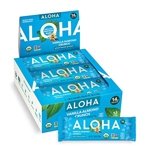 ALOHA Organic Plant Based Protein Bars - Vanilla Almond Crunch - 12 Count, 1.9oz Bars - Vegan, Low Sugar, Gluten-Free, Paleo, Low Carb, Non-GMO, Stevia-Free, Soy-Free, Sugar Alcohol Free