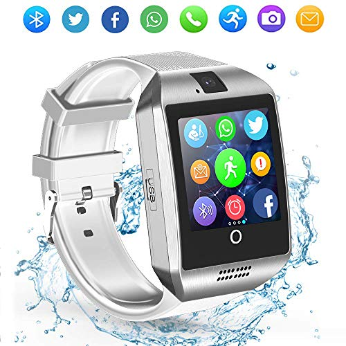 LAHYXAL Smart Watch Touchscreen Bluetooth Smartwatch Fitness Tracker Sport Watch with Camera SIM SD Card Slot Sleep Step Monitor Compatible iPhone iOS Samsung Android Phones (White)
