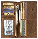 Mou Meraki RFID Blocking Cognac Mens genuine leather Bifold Long Wallet