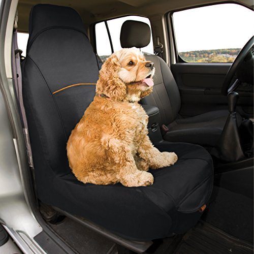 Kurgo Housse de siège passager pour chien, Imperméable et anti-déchirure, Taille unique – Adapté à la plupart des véhicules, Noir, CoPilot Bucket Seat Cover, 01189