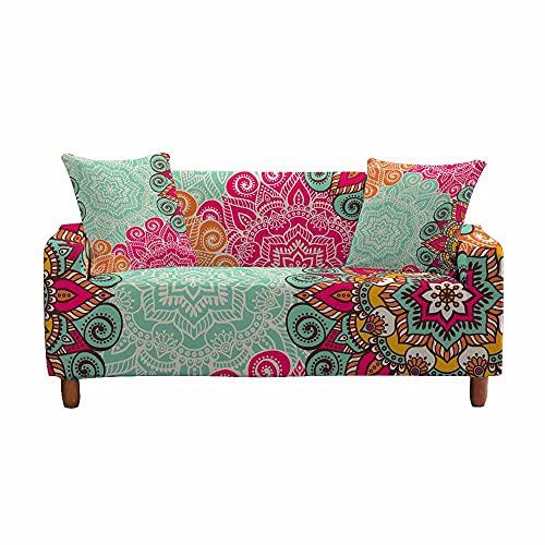 Fansu Funda de Sofá Elástica para Sofá de 1 2 3 4 Plazas,Ajustable Patrón de Mandala Colorido 3D Cubre Sofa Antisuciedad Protector de Muebles +Funda de Cojín (exótico,2 plazas(145-185cm))
