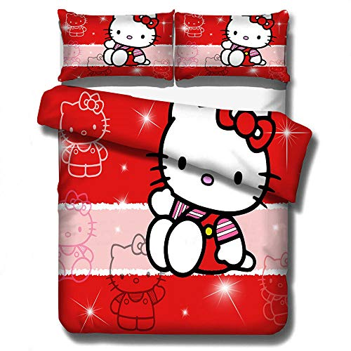 Ropa de cama con funda nórdica 3D de dibujos animados de Hello Kitty para niños, juego de ropa cama con textiles para el hogar suaves y cómodos de tamaño completo para niñas-B_210x210cm (3pcs)