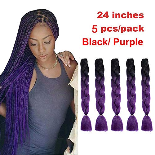 Showjarlly 5 Piezas Ombre Jumbo Braid Pelo Sintético 24 Pulgadas 100g Kanekalon Extensiones de Trenzado de Cabello Para Ganchillo Trenzado Trenzado de Pelo (5PCS, B25-Negro/Púrpura)