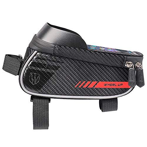 SXZG Bolsa para Cuadro Frontal de Bicicleta, Bolsa para Manillar de Tubo Frontal para Bicicleta de montaña, con Pantalla táctil, Adecuada para teléfonos móviles de Menos de 6.2 Pulgadas