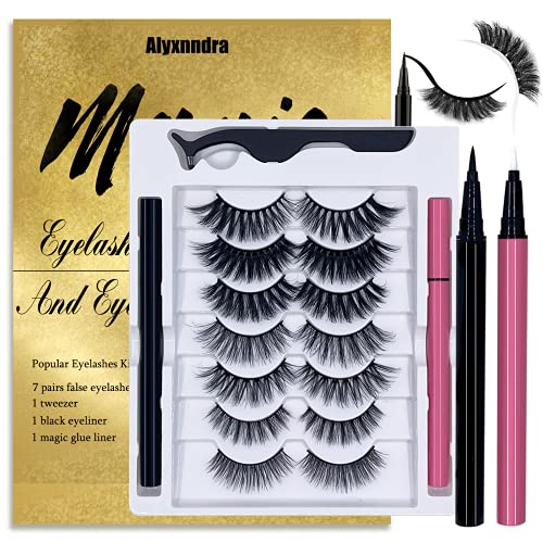 Magic False Eyelashes With Eyeliner Kit,Natural Look False Eyelash Non Magnetic Lashes With 2 In 1 Eyeliner(Black+Clear)