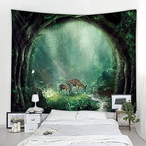 Tapiz de alce de bosque nórdico hippie bohemio decoración de pared tapiz estilo artístico manta tela de fondo tela colgante A2 130x150cm