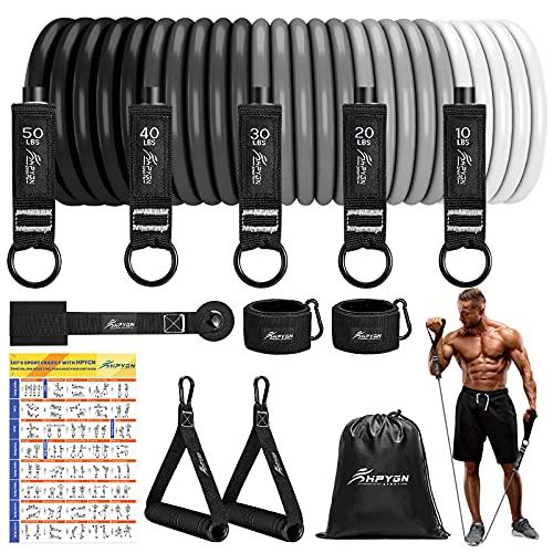 HPYGN Resistance Bands, 5 verschiedene Gewichte Fitness Bänder Sets mit Griffen Knöchelriemen und Türanker Tragbarer Rucksack, für Indoor Home Gym und Outdoor Exercise und Physiotherapie und Geschenke