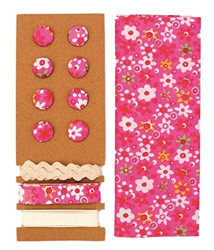 Lili Rose Kit de textile rose fleurs 48 x 48 cm Bandes 3 x 1 m 8 boutons