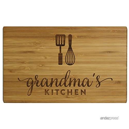 Andaz Press Laser Engraved Large Bamboo Wood Cutting Board, 17.75 x 11-inch, Grandma's Kitchen, 1-Pack