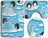 Juego de alfombrillas de baño con diseño de pingüinos de dibujos animados para crear hielo, antideslizante, 3 piezas, incluye alfombras de baño/alfombrilla de contorno/cubierta de inodoro