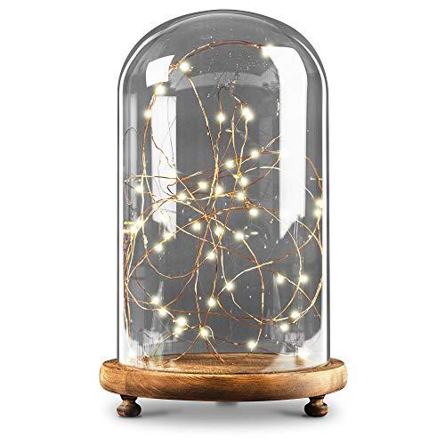 iN Home - Lámpara LED de techo con mando a distancia, 50 luces LED de alambre de cobre de 5 m de largo, con cúpula de cristal y base de madera, perfecta decoración del hogar