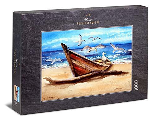 Ulmer Puzzleschmiede - Puzzle 'Driftwood' - Pittura di paesaggio al mare: una vecchia barca e uccelli di mare sulla spiaggia