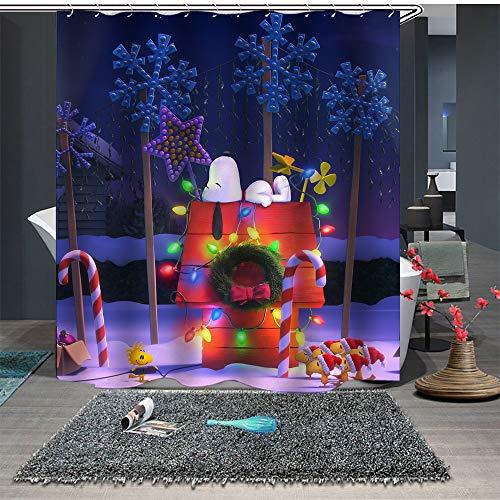JHTRSJYTJ Glühende Süßigkeiten Snoopy Puppy Duschvorhang ist geeignet für Badezimmer,Polyester wasserdicht,12Haken,150X180cm,Wohnkultur