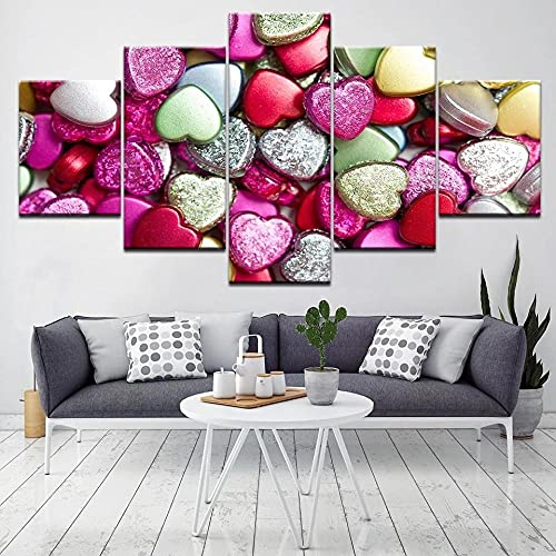 HGFDS Lienzo Impreso sobre Lienzo de 5 Piezas para Pared HD Print Cita de Amor de Acuarela Modular 5 Panel Canvas Pictures Poster Home Wall Decor Artwork Mural Foto