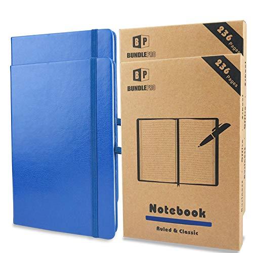 2 Stück klassische linierte Notizbücher, dickes Papier mit PU-Ledereinband, Tagebuch, 236 Seiten-je 118 Blatt, Hardcover liniert Schreibheft mit Gummibandverschluss für Schule, Büro, Business (BLAU)
