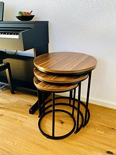 Sentidos Juego de 3 mesas de centro redondas, mesas auxiliares para salón o dormitorio