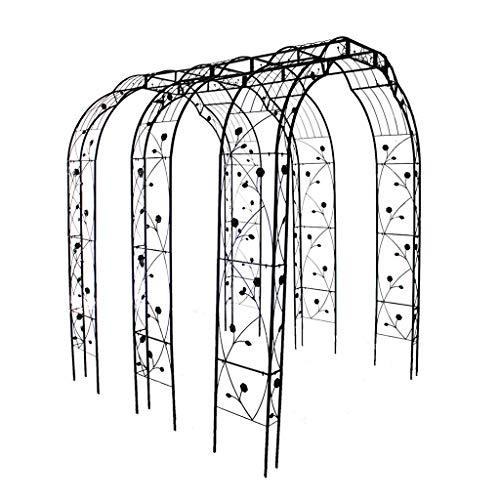 XCJJ Tres arcos de jardín de estilo francés clásico con arcos de pasarela de jardinería al aire libre, decoración de ceremonia de boda, forma de hierro forjado rosa, arco de jardín para planta