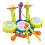 Batería de juguete para niños, con luces y micrófono ajustable, educativa y con varias...