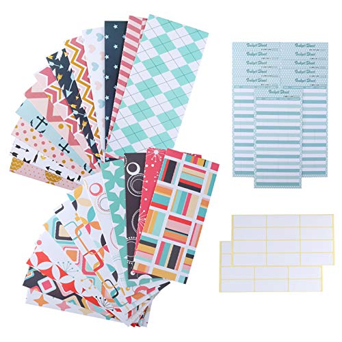 24 Pack Budget Envelopes, Money Cash Envelopes, Waterproof Laminated Cash Envelope System for Cash Savings, Budget Planning with Extra 24 PCS Budget Sheets for Finance Record and 48 PCS Label Stickers