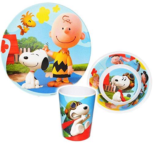 alles-meine.de GmbH 3 TLG. Geschirrset -  Peanuts / Snoopy  - Melamin Geschirr - Trinkbecher + Teller + Müslischale / Suppenschale - Kindergeschirr Frühstücksset - Jungen Mädch..