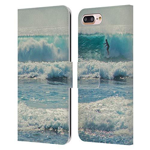 Head Case Designs Oficial Catspaws Surf-acing Nature & Colours Carcasa de Cuero Tipo Libro Compatible con Apple iPhone 7 Plus/iPhone 8 Plus