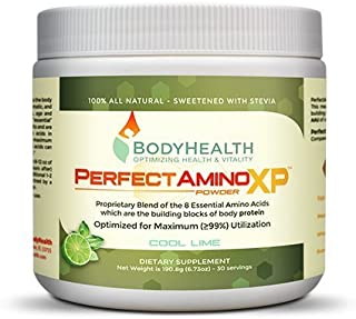 PerfectAmino XP Powder 8 Essential Amino Acids including BCAAs by BodyHealth, Branched Chain Amino Energy, Fat Burner & Weight Loss Pre Workout Supplements, 99% Utilization, Cool Lime, 30 Servings