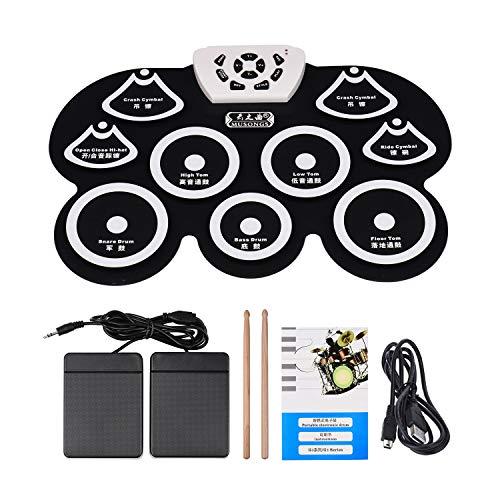 Andoer Silicone USB portatile pieghevole digitale Midi Roll-up kit elettronico Drum Pad con bastone e Pedale