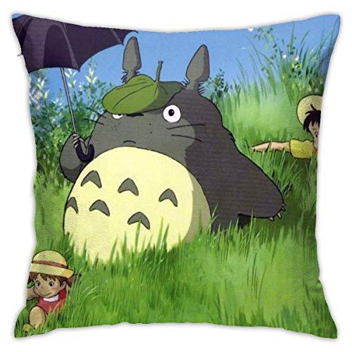 Totoro - Fundas de cojín de poliéster, fundas de almohada para sofá, decoración del hogar, 45 x 45,7 cm