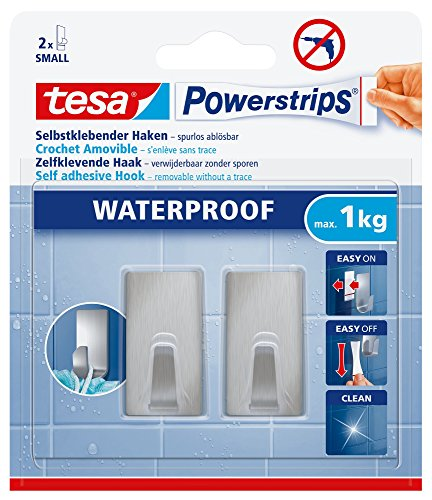Tesa Powerstrips Haken (Waterproof Small Metall eckig) silber-matt