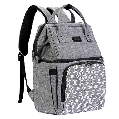 AmHoo Insulated Lunch Box Cooler Backpack Waterproof Leak-proof Lunch Bag Tote For Men Women,Hiking/Beach/Picnic/Trip with Strongest YKK Zipper,Grey