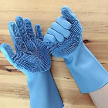 FEDUS Magic Silicone Reusable Heat Resistant Safety Gloves Scrubber with Wash Sponge for Warm Dish Washing Pet Bathing Fruit Vegetable