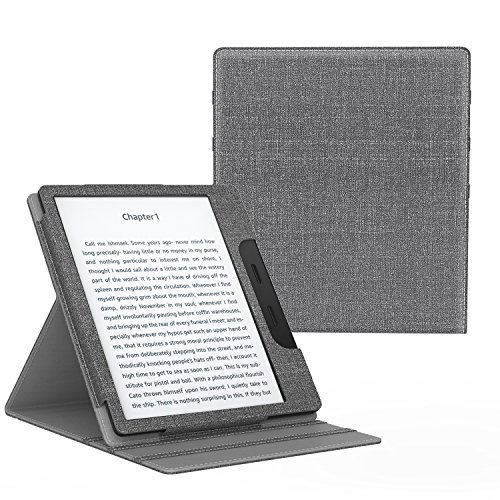 MoKo Case Fits All-New Kindle Oasis (9th and 10th Generation ONLY, 2017 and 2019 Release), Multi Angle Viewing Vertical Flip Cover with Auto Wake/Sleep - Gray