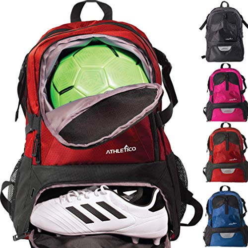 Athletico National Soccer Bag - Rucksack für Fußball, Basketball & Fußball inkl. separater Klampe und Ballhalter, rot