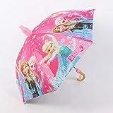 Ombrello per bambini a forma di simpatico cartone animato con ghiaccio e neve, con bordo principessa Aisha, ombrello trasparente per ragazze Sofia ombrello rosa ghiaccio e neve (3 – 8 anni) polvere