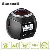 360panorámica cámara sansnail SV100360Cámara Allwinner V31440p 4K Cámara impermeable Deporte 3d VR vídeo cámara (negro)