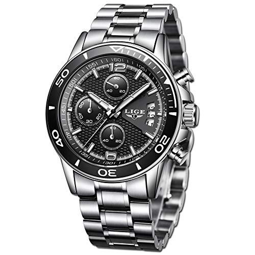 LIGE Relojes Hombre Clásico Negro Acero Inoxidable Relojes Hombre Impermeable Negocios Deportes Analogicos Cuarzo Relojes