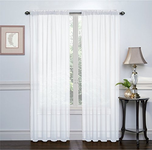 2 Pack: Ultra Luxurious High Thread Rod Pocket Sheer Voile Window Curtains by Victoria Classics  Assorted Colors White