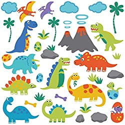 1. CherryCreek Decals Dino Friends Decorative Peel and Stick Wall Art