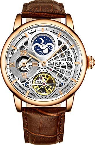 Stührling Original Rose Gold Watch for Men Skeleton Watch Dial Automatic Watch Movement - Dual Time, AM/PM Sun Moon, Genuine Leather Band, 3926 Watch Mens Collection