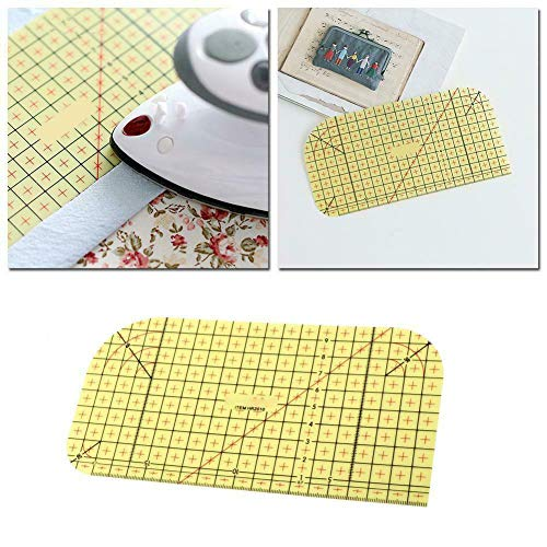 Wrth Hot Ironing Ruler Patch Tailor Craft DIY Sewing Supplies Measuring Handmade Tool, Measure, Mark, Fold, and Press Deep Hems, Long Hems, and Miter Corners Use with Dry or Steam Iron