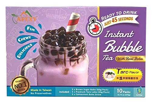 Bubble Tea COMPLETE SET. BEST DIY Boba / Bubble Tea Kit, Ready In 45 Seconds, 5 Packs Milk Tea Powder + 5 Packs Brown Sugar Tapioca Pearls+ 5 Bubble tea Straws By APEXY (Taro)