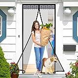 Magnetic Screen Door, Elctman Sliding Screen Door Reinforced Fiberglass Mosquito Net Curtain, Hands Free Kids/Pets Friendly, Fit Doors Up to 39 x 83 in