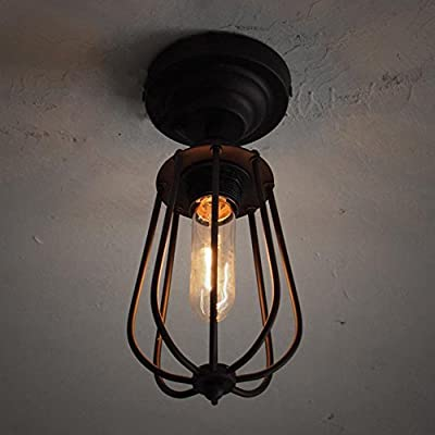 Industrial Bird Cage Style Ceiling Light, SUN RUN Creative Retro Light Fixture Chandeliers Vintage Metal Pendant Lamp with Painted Finish for Dining Room Kitchen