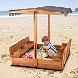 Aivituvin Kids Large Wooden Sandbox, Outdoor Sand Box Play w/ Canopy, 2 Foldable Bench Seats, Retractable Roof and Sand Protection - 47x47-Inch