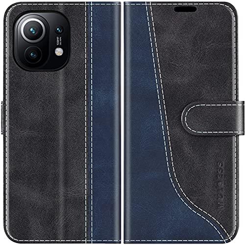Mulbess Handyhülle Kompatibel mit Xiaomi Mi 11 Hülle, Xiaomi Mi 11 Hülle Leder, Etui Flip Handytasche Schutzhülle für Xiaomi Mi 11 5G Hülle, Schwarz
