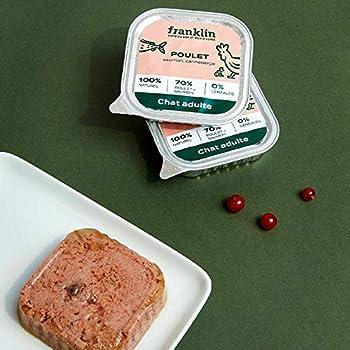 Franklin – Pâtées Chat sans Céréales – Naturel – 67% de Viande et Poisson – Poulet, Saumon, Canneberge – 32x100g